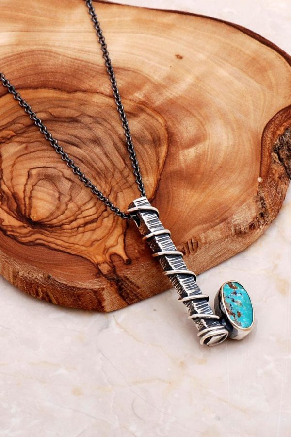 Turquoise Stone Handmade Sterling Silver Necklace 6553