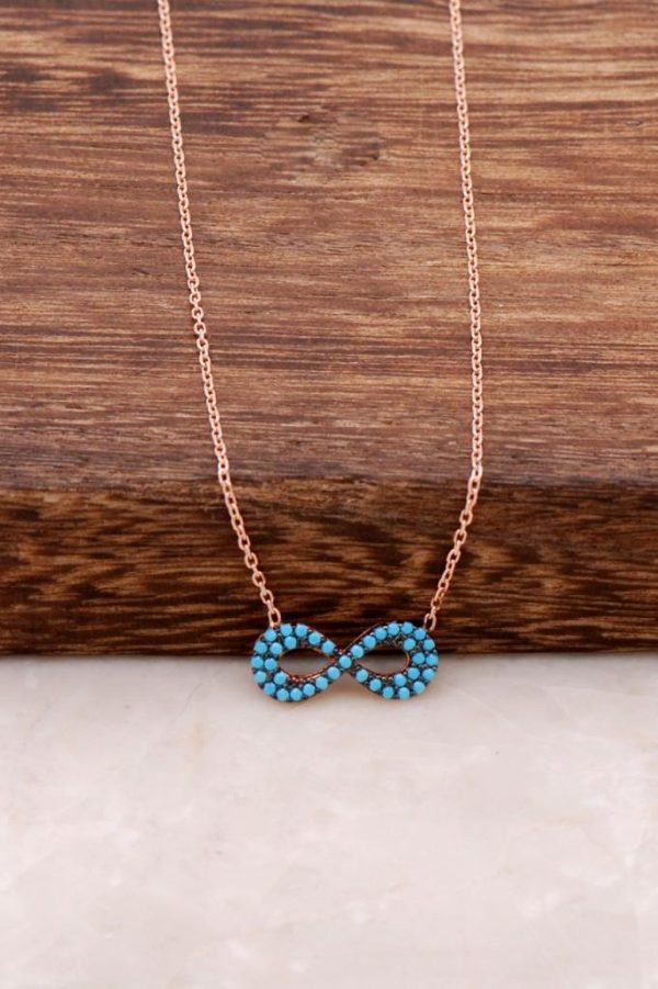 Turquoise Stone Infinity Rose Sterling Silver Necklace 1101