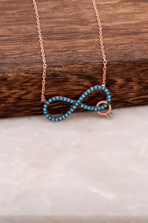 Turquoise Stone Infinity Rose Sterling Silver Necklace 1666