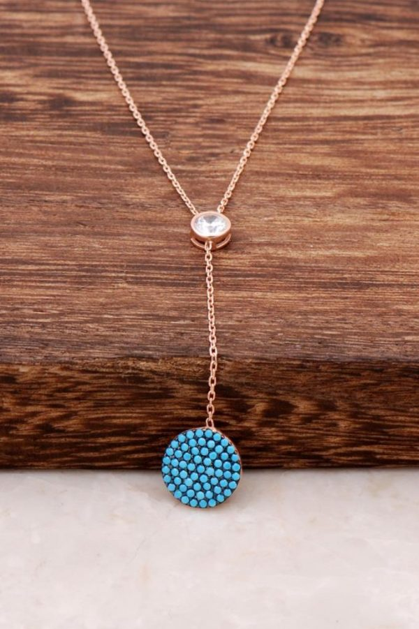 Turquoise Stone Rose Silver Necklace 1110