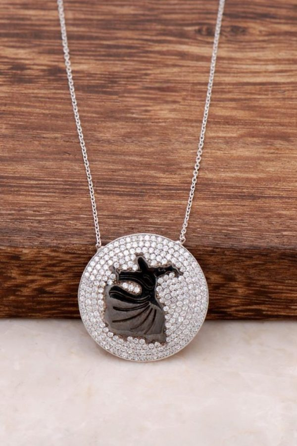 Zircon Stone Whirling Dervish Design Silver Necklace 418