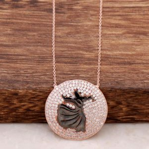 Zircon Stone Whirling Dervish Rose Silver Necklace 474