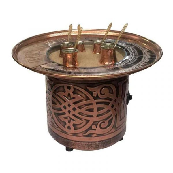 Spiral Model Sand Coffee Machine with Tray + 2 Copper Coffee Pots