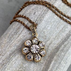 Diamond Pendant Necklace with White Crystal Stone