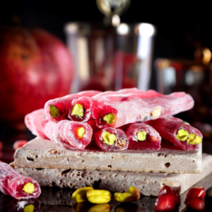 Pomegranate Flavored Turkish Delight with Pistachio, 15.87oz - 450g